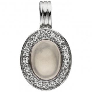 Anhänger Einhänger Oval 925 Sterling Silber 1 Rosenquarz 22 Zirkonia
