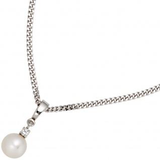 Anhänger 585 Gold Weißgold 1 Süßwasser Perle 1 Diamant Perlenanhänger