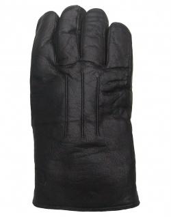 sportliche Herren Ziegenleder Fingerhandschuhe mit Lammfell schwarz, extra di...