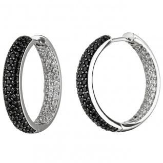 Creolen 925 Sterling Silber mit Zirkonia schwarz und weiß Ohrringe Silbercreolen