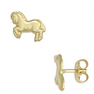 Kinder Ohrstecker Pferd Pferde 333 Gold Gelbgold Ohrringe Kinderohrringe