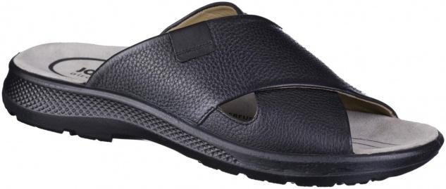 JOMOS Herren Leder Pantoletten schwarz, softes Leder Fußbett