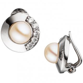 Ohrclips 925 Silber 2 Süßwasser Perlen mit Zirkonia Ohrringe Clips Perlenclips