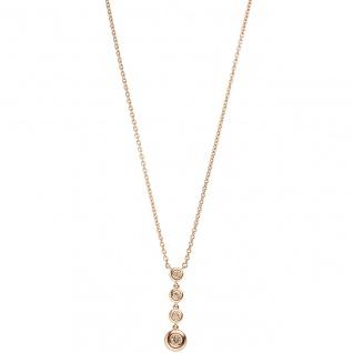 Collier Kette mit Anhänger 585 Gold Rotgold 4 Diamanten Brillanten 44 cm
