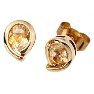 Ohrstecker Tropfen 333 Gold Gelbgold 2 Citrine orange Ohrringe Goldohrstecker