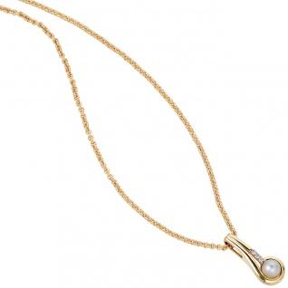 Anhänger 333 Gold Gelbgold 1 Süßwasser Perle 3 Zirkonia Perlenanhänger