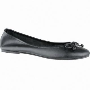 TOM TAILOR modische Damen Leder Ballerinas schwarz, gepolsterte Tom-Tailor-Decksohle, 1040153/36