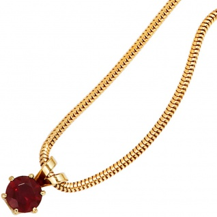 Anhänger 585 Gold Gelbgold 1 Granat rot Goldanhänger Granatanhänger