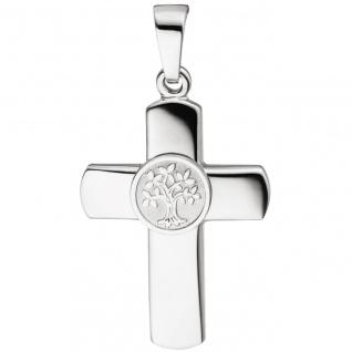Anhänger Kreuz Lebensbaum 925 Sterling Silber Kreuzanhänger Silberkreuz