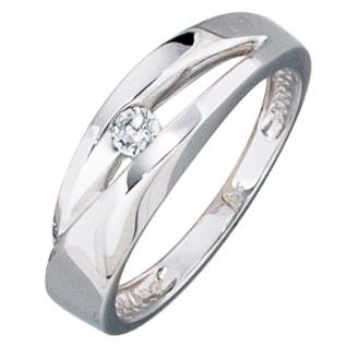 Damen Ring 375 Gold Weißgold 1 Zirkonia Weißgoldring