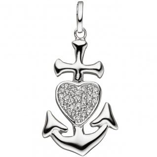 Anhänger Glaube Liebe Hoffnung 925 Silber mit Zirkonia Silberanhänger