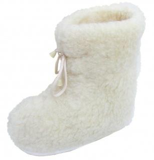 superwarme und weiche Damen Woll Hausschuhe hoch beige waschbar, 100% Merinow...