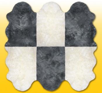 Fellteppiche naturweiß-grau aus 6 Lammfellen, Größe ca. 185 x 180 cm, 30 Grad...