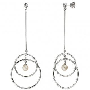Ohrhänger 925 Sterling Silber 2 Süßwasser Perlen Ohrringe lang