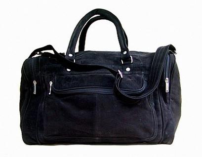 geräumige Wasserbüffel Leder Reisetasche schwarz mit Seitentaschen, ca. 49x31 cm