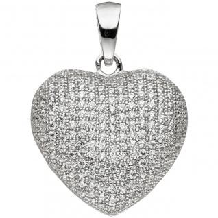 Anhänger Herz 925 Sterling Silber mit Zirkonia Herzanhänger Silberanhänger