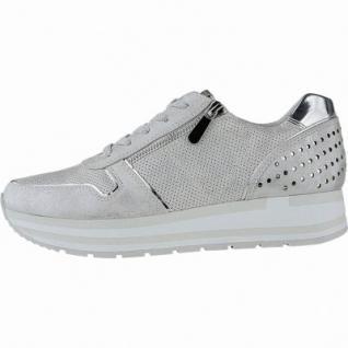 Marco Tozzi sportliche Damen Metallic Synthetik Sneakers silber, gepolsterte Feel me Decksohle, 1240157