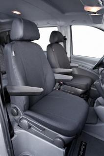 Passform Sitzbezüge Mercedes Vito W639, passgenauer Stoff Sitzbezug 2 Einzelsitze f. Armlehne innen+außen, ab Bj. 06/03-05/14