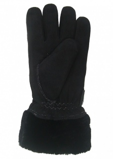superdicke Damen Rindleder Finger Fellhandschuhe schwarz, weiße Kontrastnähte...