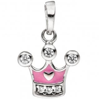 Kinder Mädchen Schmuck-Set Krone pink rosa 925 Silber Zirkonia mit Kette 38 cm - Vorschau 5