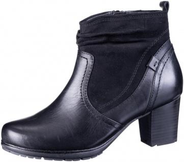 JANA Damen Leder Stiefeletten black, Extra Weite H, leichtes Warmfutter, soft...