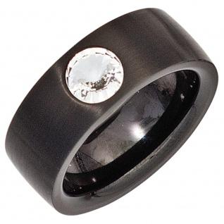 Damen Ring Edelstahl schwarz beschichtet mit SWAROVSKI® ELEMENT