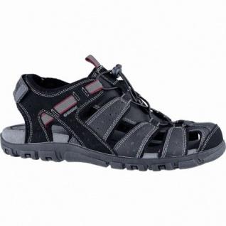 Geox modische Herren Synthetik Sandalen black, Geox Leder Fußbett, atmungsaktive Laufsohle, 2440112