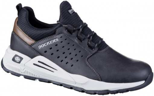 DOCKERS Herren Leder Sneakers schwarz, Meshfutter, herausnehmbare Decksohle