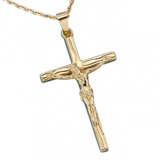 Anhänger Kreuz 585 Gold Gelbgold Kreuzanhänger Goldkreuz mit Jesus