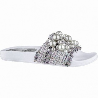 Marco Tozzi supercoole Damen Synthetik Pantoletten mit Perlen weiß, weiche Decksohle, 1440258