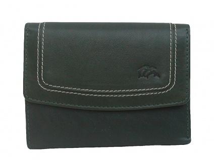 Dolphin handliche Damen Leder Geldbörse dunkelgrün, 8xCC, 1 Scheinfach, viele...