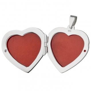 Medaillon Herz zum Öffnen für 2 Fotos 925 Sterling Silber Herzanhänger