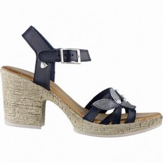 BLK Blackstone stylishe Damen Leder Sandaletten navy, gepolsterte Leder Decksohle, Plateau Laufsohle, 1442146/36