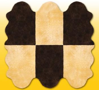 Fellteppiche beige-braun aus 6 Lammfellen, Größe ca. 185 x 180 cm, 30 Grad waschbar