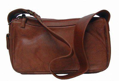 kleine Damen Leder Handtasche braun, 6 Fächer, mit Seitenfach