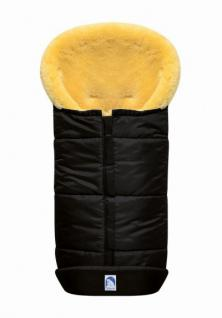 großer Baby Premium Winter Lammfell Fußsack schwarz waschbar, Kinderwagen, Buggy, ca. 100x44 cm, komplett aufklappbar