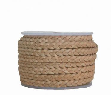 Rindleder Flechtband flach geflochten natur, für Leder Armbänder, Lederketten, Länge 10 m, Breite ca. 4 mm, Stärke ca. 2 mm