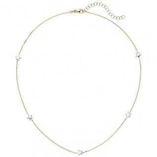 Collier Halskette Stern 375 Gold Gelbgold Weißgold bicolor diamantiert 43 cm