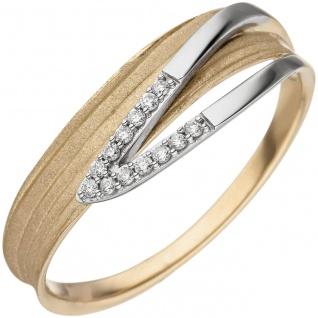 Damen Ring 585 Gelbgold Weißgold bicolor matt 13 Diamanten Brillanten - Vorschau 1