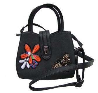 Angel kiss FLOWER kleine freche Handtasche mit Glitzer schwarz, Fashion Strap INKA Design, 22x18x10 cm