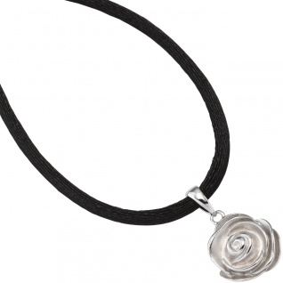 Anhänger Rose 925 Sterling Silber rhodiniert mattiert - Vorschau 1