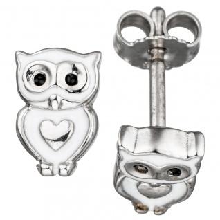 Kinder Ohrstecker Eule Herz 925 Silber mit Lackeinlage Ohrringe Kinderohrringe