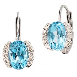 Boutons 585 Gold Weißgold 20 Diamanten 2 Blautopase blau Ohrringe Ohrhänger