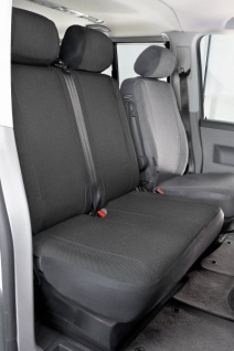 Passform Sitzbezüge Transporter VW T6, passgenauer Stoff Sitzbezug Doppelbank vorn umlegbar, ab Bj. 07/2015
