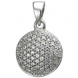 modischer Silber Anhänger rund, 925er Sterling Silber mit 66 Zirkonias, Durch...