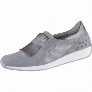 Ara Lissabon edle Damen Leder Sneakers rauch, herausnehmbares Ara-Fußbett, Comfort Weite G, 1338128/5.0