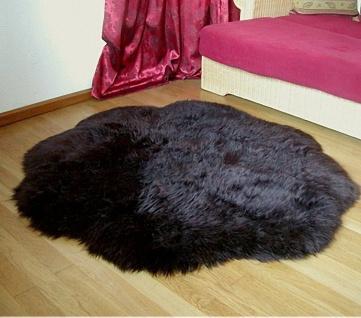 Heitmann Lammfell Fellteppiche braun gefärbt rund, Ø ca. 140 cm, 30 Grad wasc...