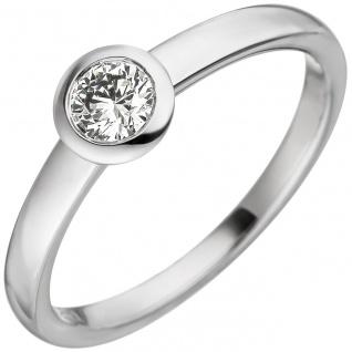 Damen Ring 585 Gold Weißgold 1 Diamant Brillant 0, 25ct. Weißgoldring Diamantring