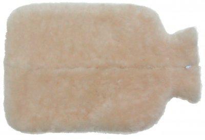 weicher Bezug für Wärmflaschen, Wärmflaschenbezug aus Lammfell mit Reißverschluss naturweiß, waschbar, ca. 36x23 cm (groß)