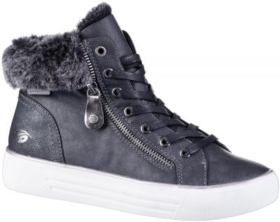 DOCKERS Damen Leder Imitat Boots schwarz, Fleecefutter, gepolstertes Fußbett